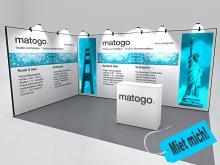 matogo.system 50 Messestand Augsburg 3x5m mit Counter Seitenansicht